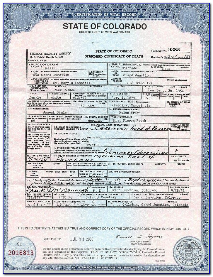 Birth Certificate Denver County Colorado