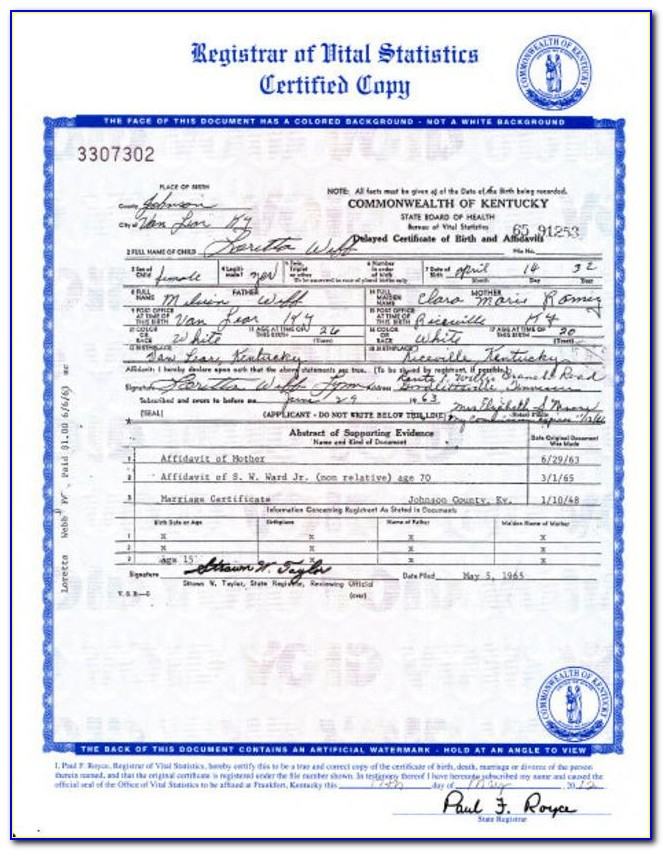 Birth Certificate Frankfort Ky Address