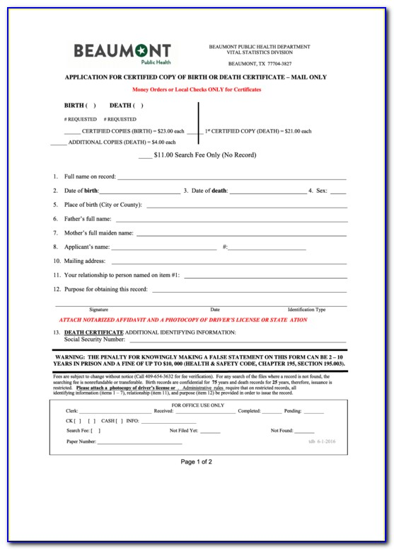 Birth Certificate Office Beaumont Texas