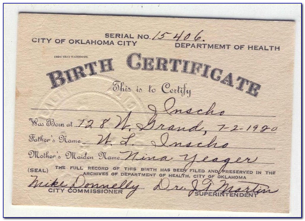 Birth Certificate Office Okc Ok