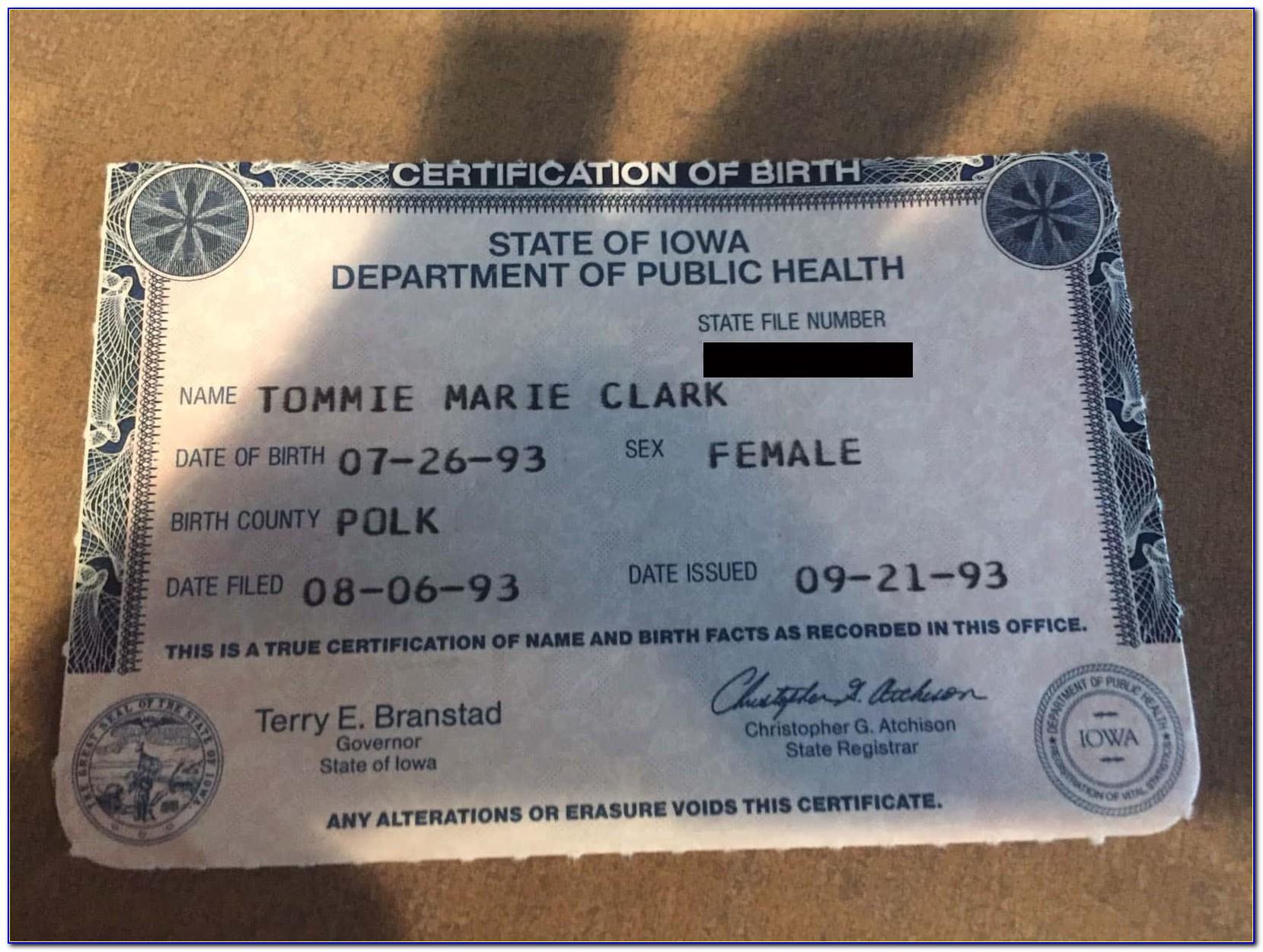 Birth Certificate Replacement Davenport Iowa