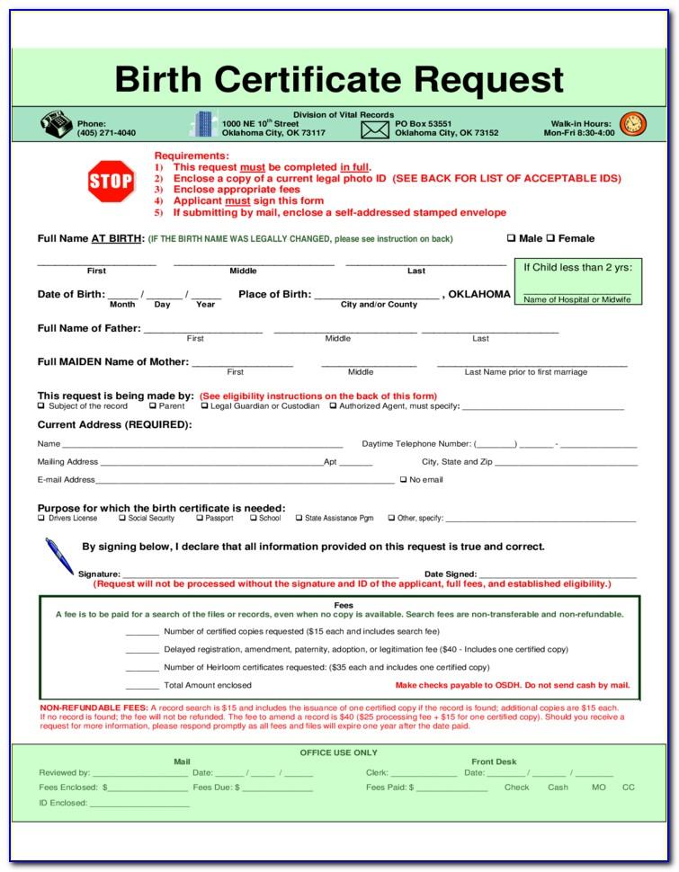 Birth Certificate Replacement Okc