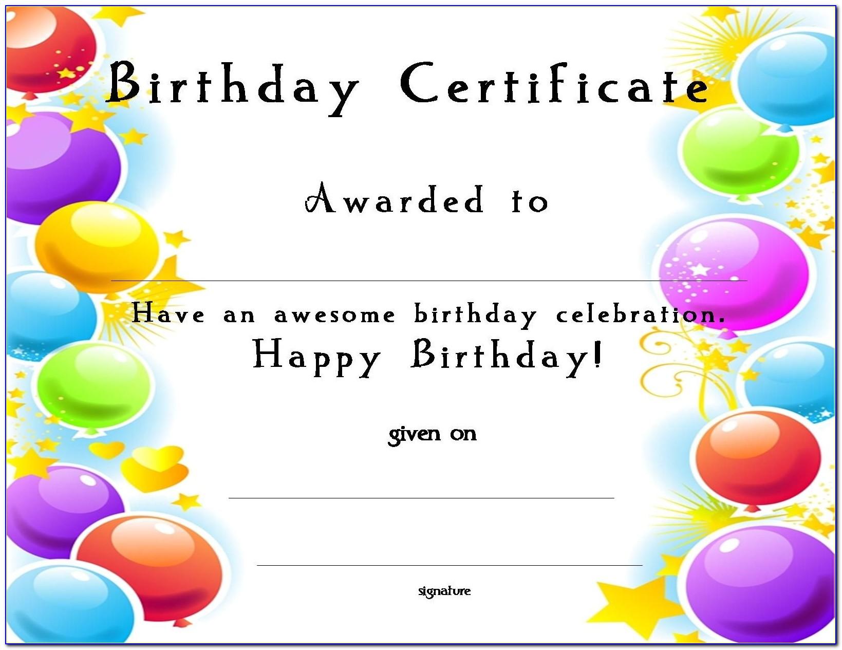 Birthday Certificate Template Free
