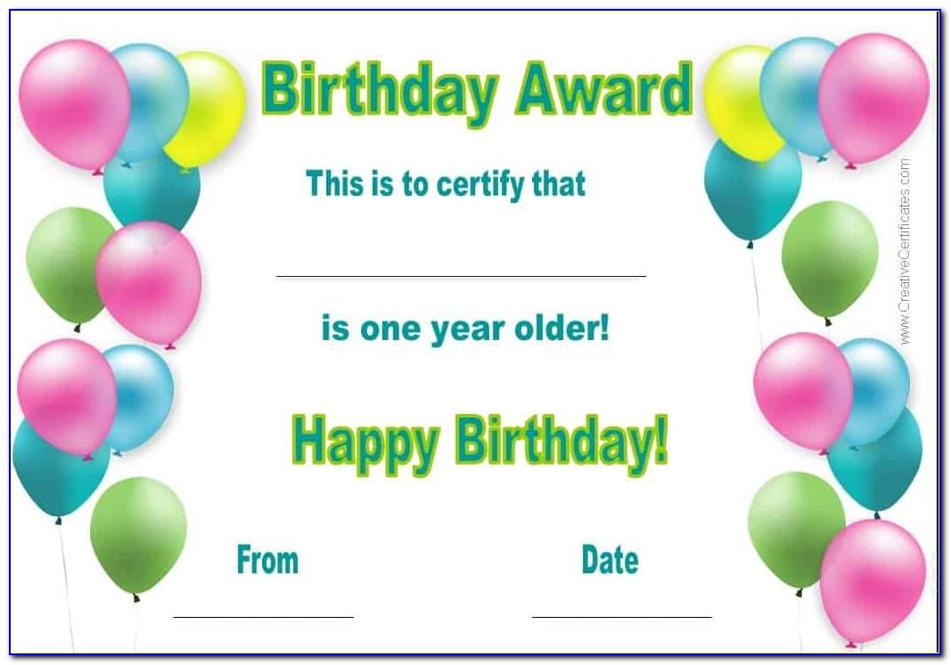 Birthday Certificate Template Printable
