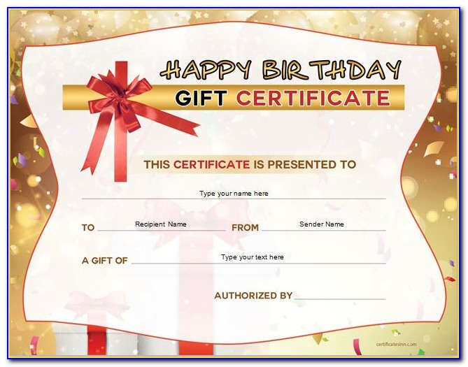 Birthday Gift Certificate Templates Free Printable