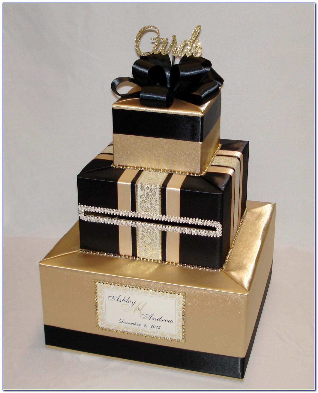 Black And Gold Wedding Card Box