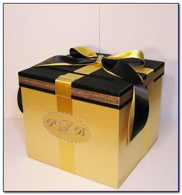 Black And Gold Wedding Gift Card Box
