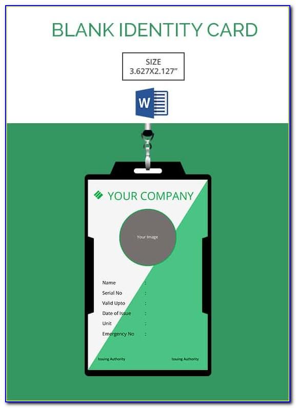 Blank Id Card Template Word