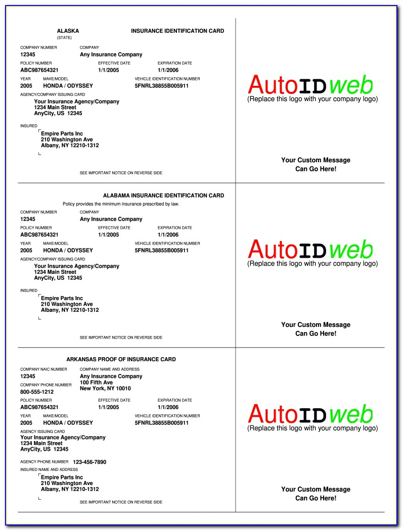 Blank Progressive Insurance Card Template