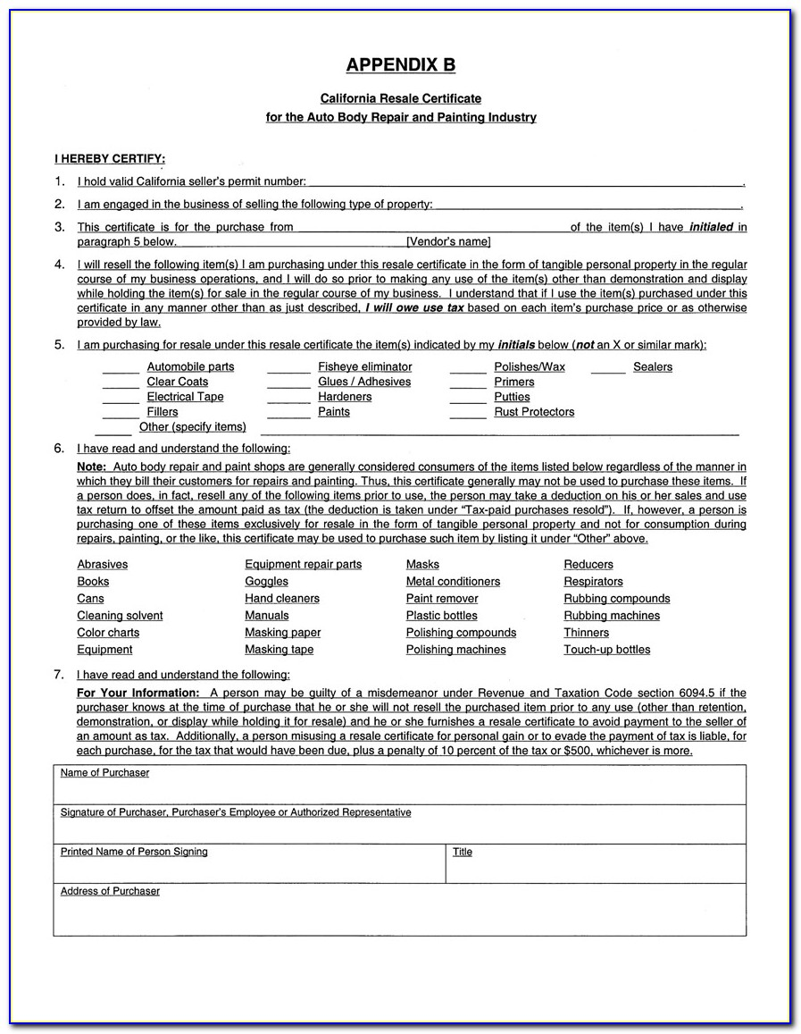 Blanket Certificate Of Resale Florida