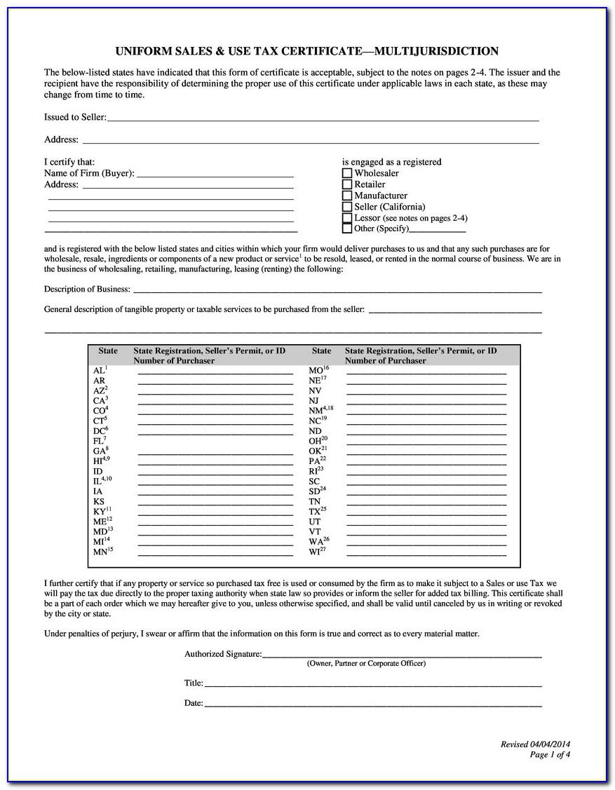 Blanket Certificate Of Resale Form