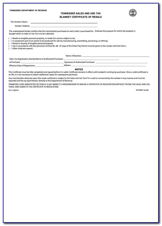 Blanket Certificate Of Resale Tennessee