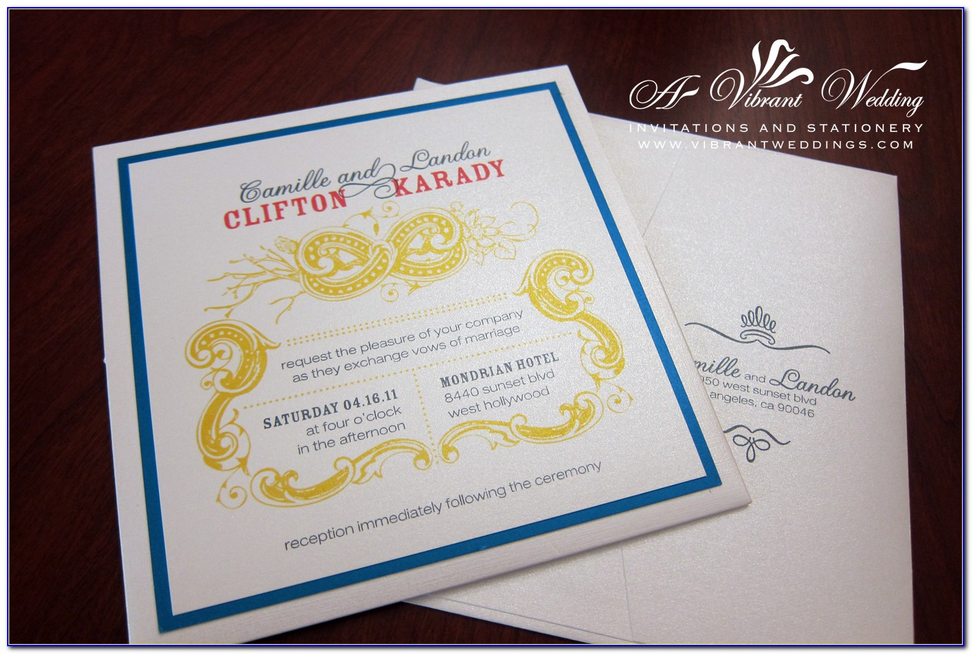 Blue And Yellow Wedding Invitation Card