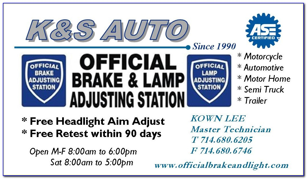 Brake And Light Adjustment Certificates Cost