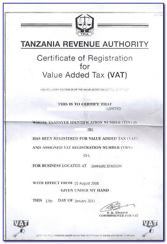 Business Tax Certificate Number