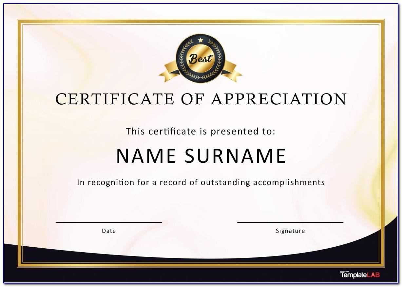 Certificate Of Appreciation Sample For Company