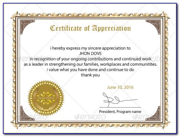 Certificate Of Appreciation Sample For Speaker