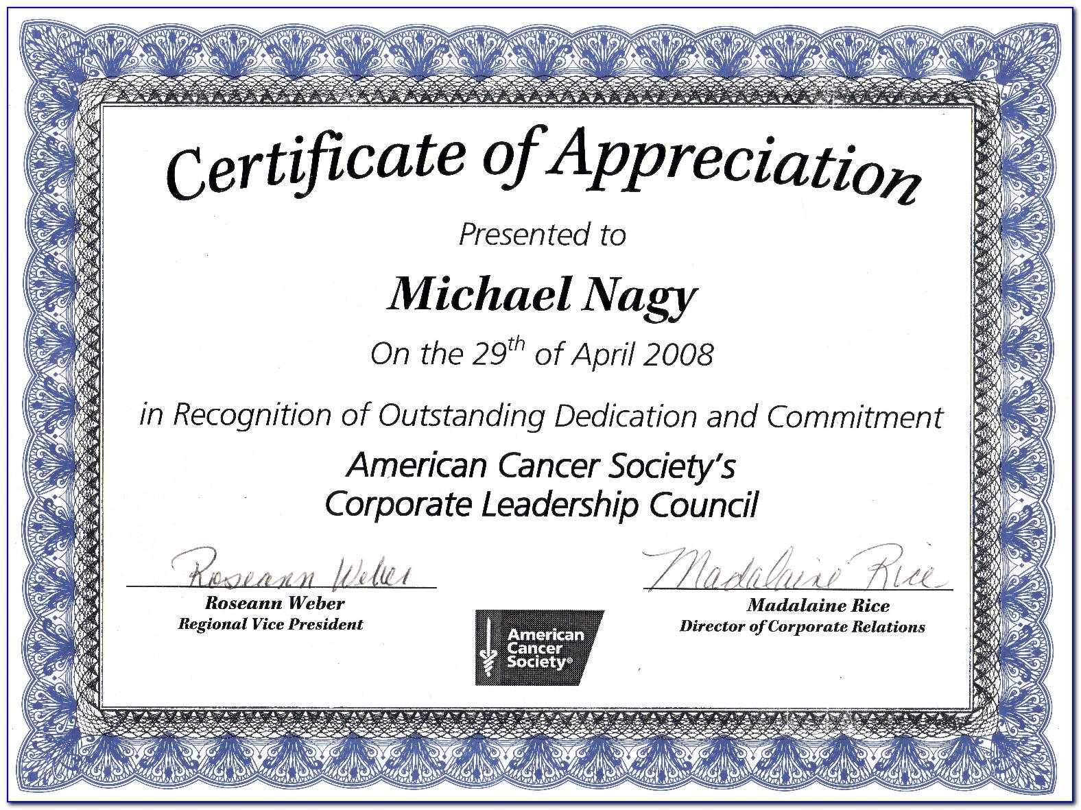 Certificate Of Appreciation Sample Text