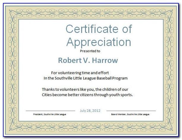 Certificate Of Appreciation Sample Wording