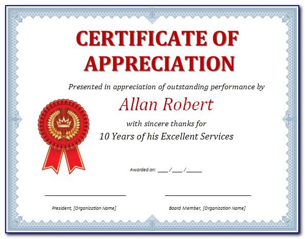 Certificate Of Appreciation Template Word Doc