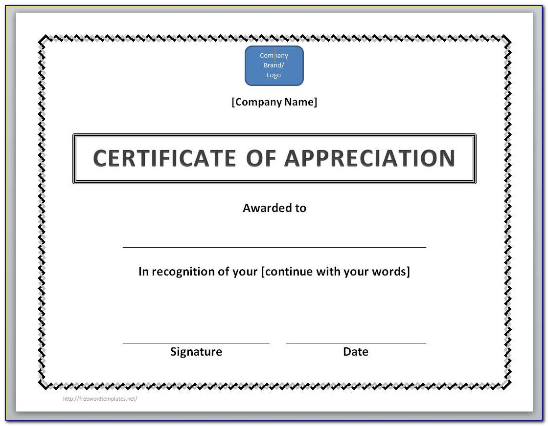 Certificate Of Appreciation Template Word Download