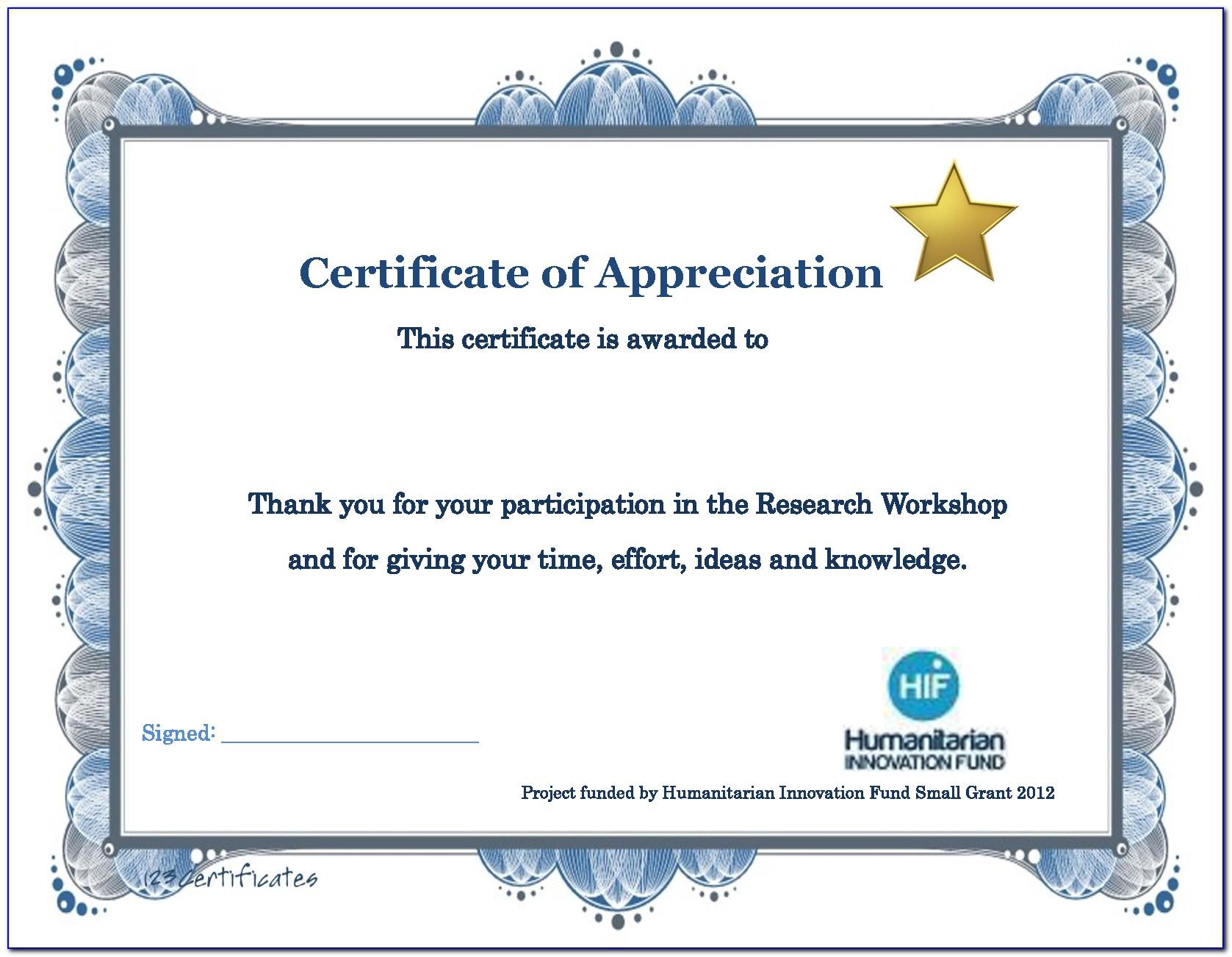 Certificate Of Appreciation Template Word Editable