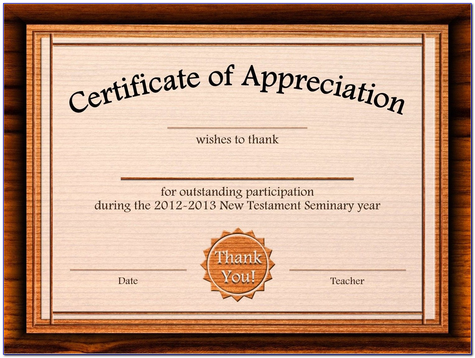 Certificate Of Appreciation Template Word Free Download