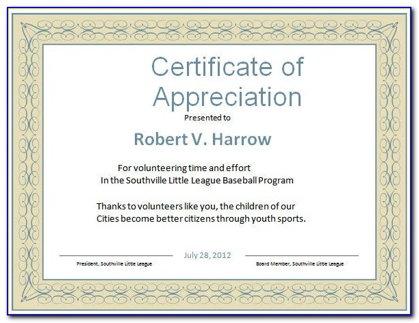 Certificate Of Appreciation Template Word Free
