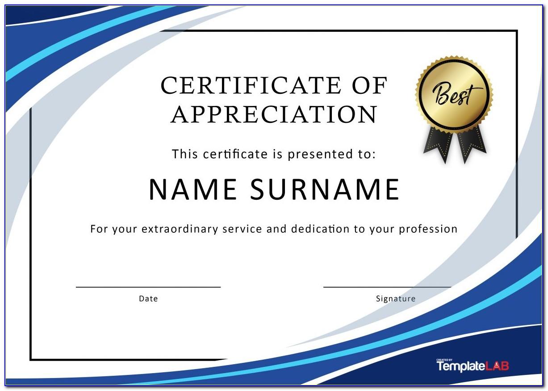 Certificate Of Appreciation Template Wording