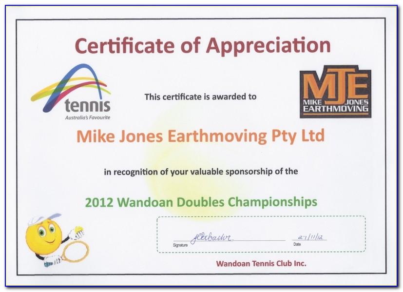 Certificate Of Appreciation Wording For Sponsors