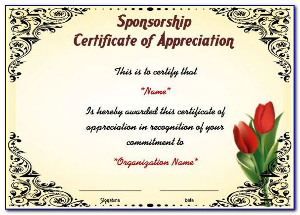 Certificate Of Appreciation Wording For Sponsorship