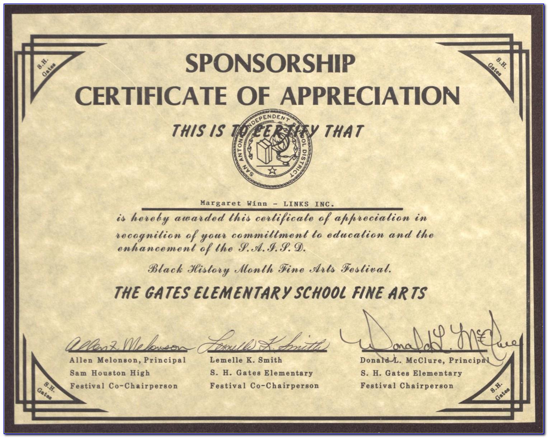 Certificate Of Appreciation Wording Sample