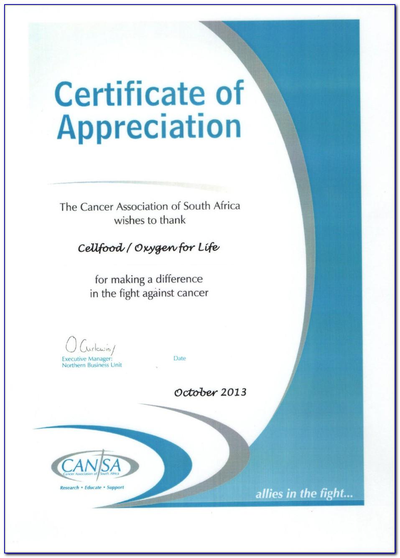 Certificate Of Appreciation Wording Samples