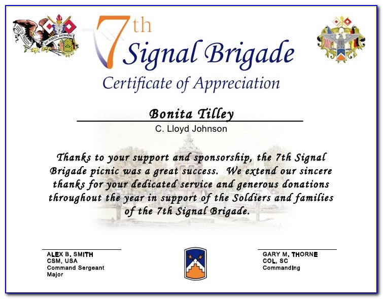 Certificate Of Appreciation Wordings