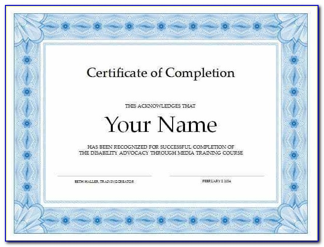 Certificate Of Completion Template Microsoft Word