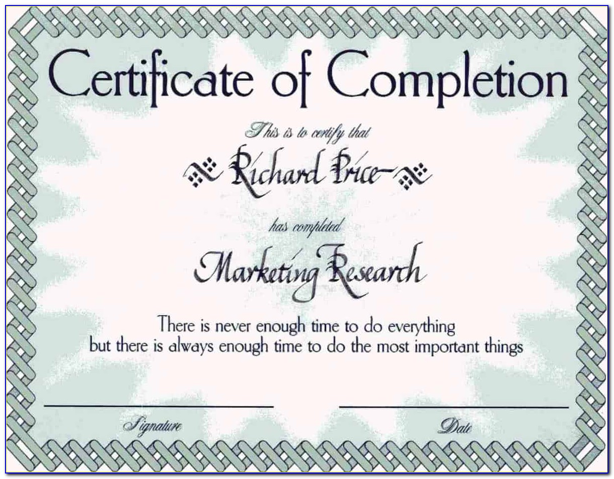Certificate Of Completion Template Word 2010