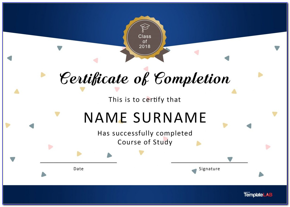 Certificate Of Completion Template Word Construction