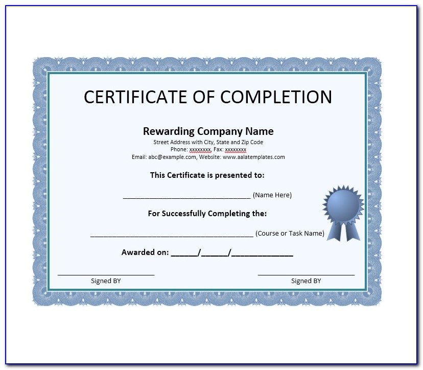 Certificate Of Completion Template Word Doc
