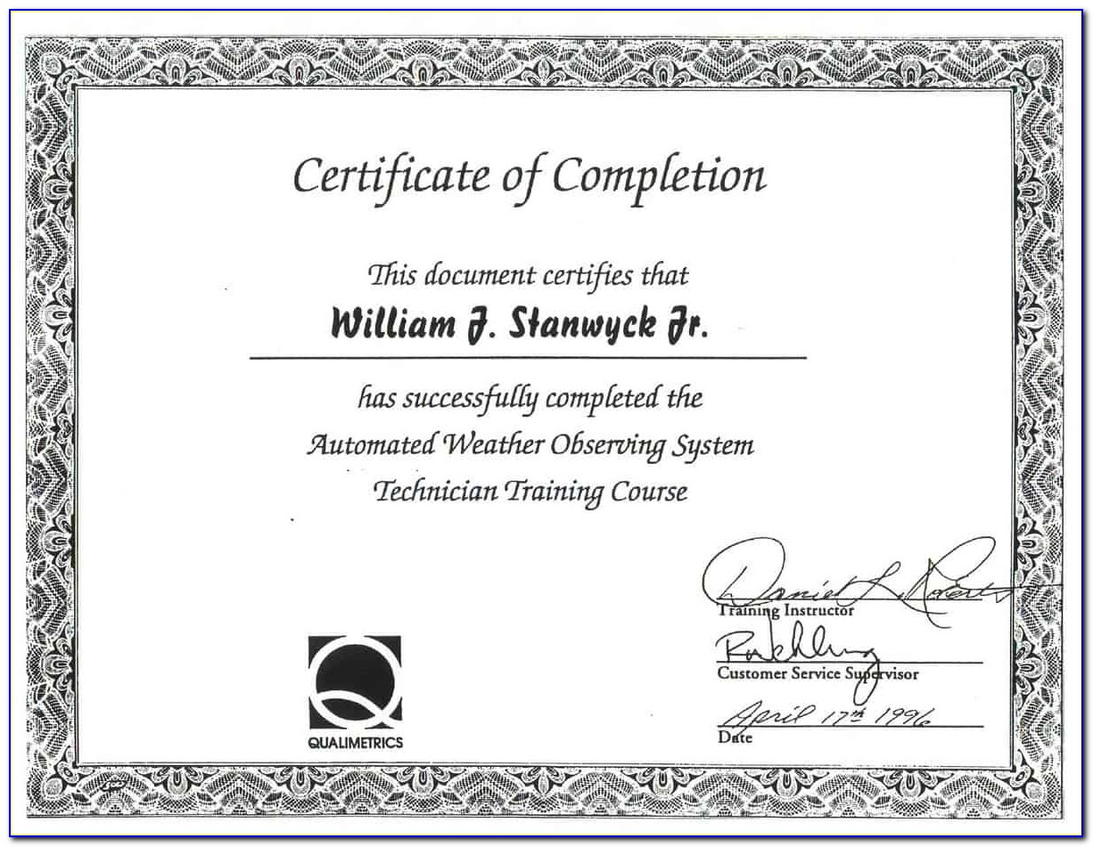 Certificate Of Completion Template Word Portrait