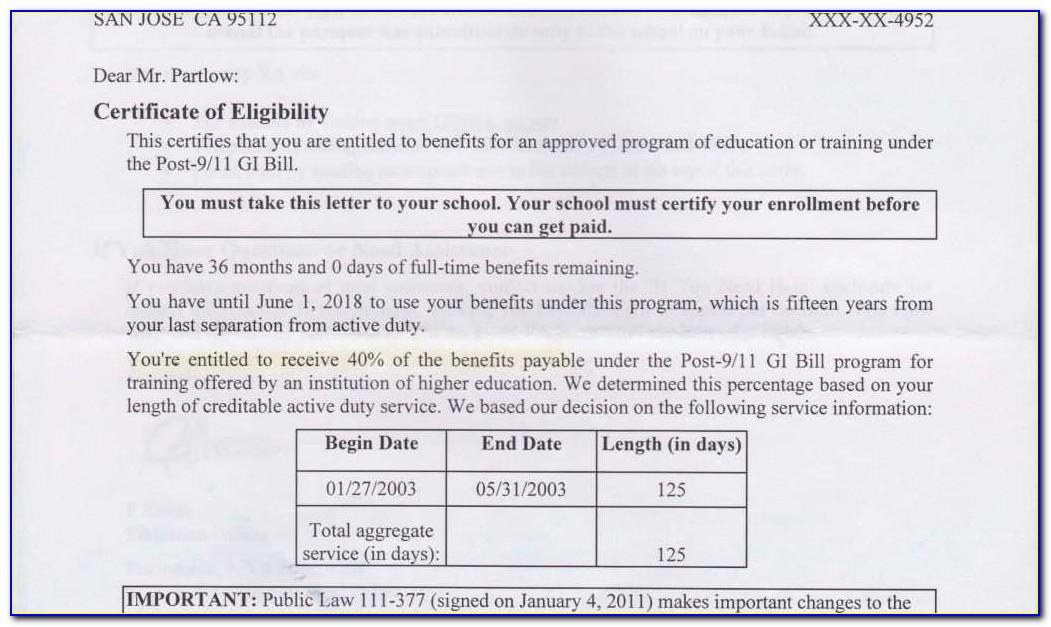 Certificate Of Eligibility Gi Bill Ebenefits