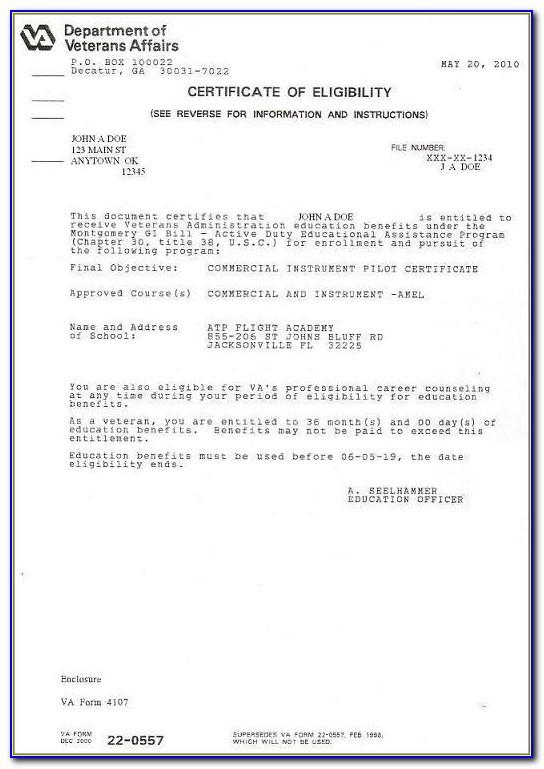 Certificate Of Eligibility Gi Bill Va