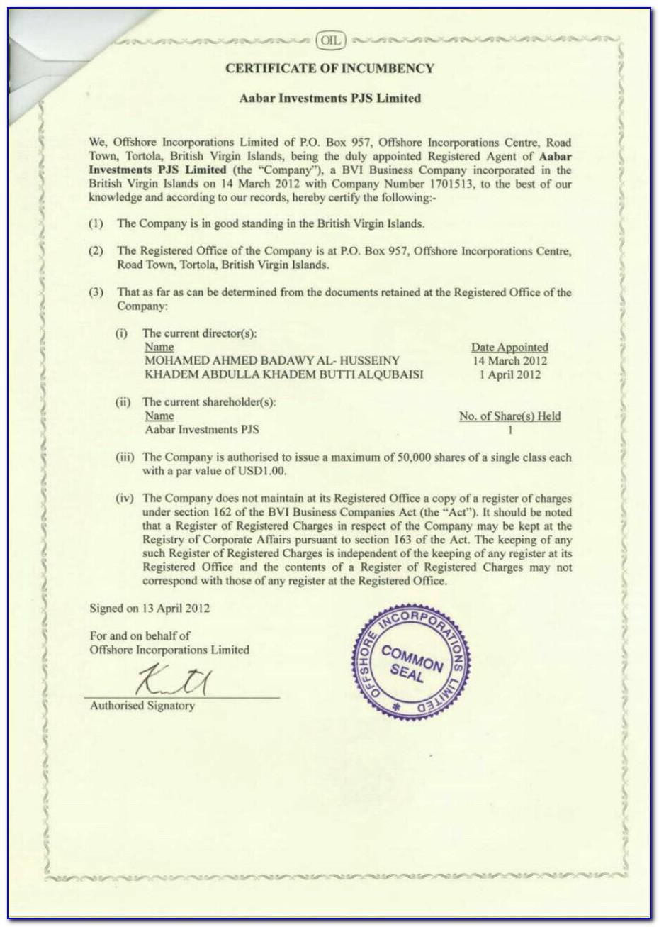 Certificate Of Incumbency Draft