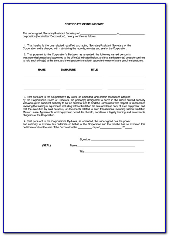 Certificate Of Incumbency Sample Canada