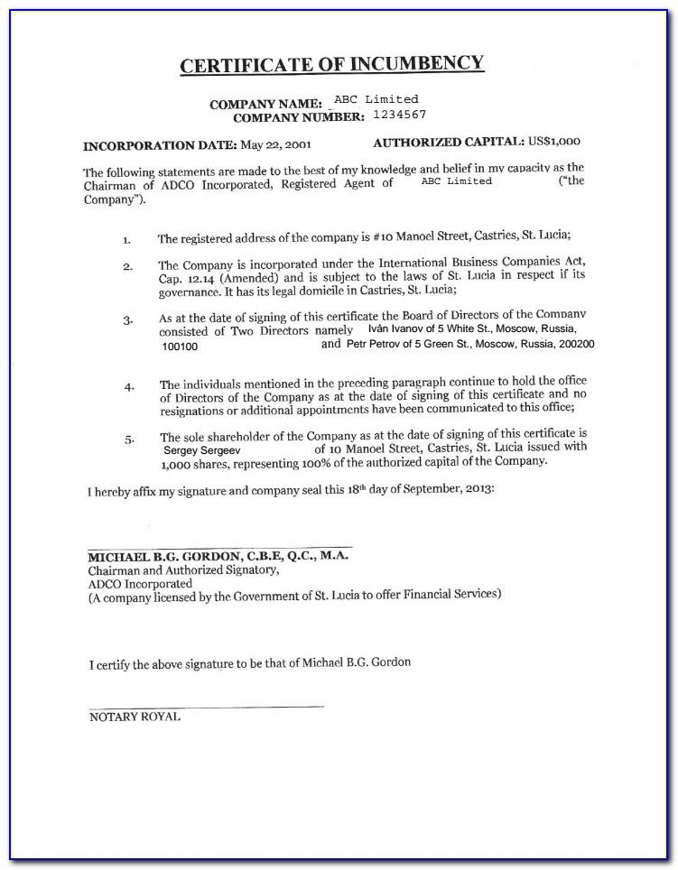 Certificate Of Incumbency Sample Hong Kong