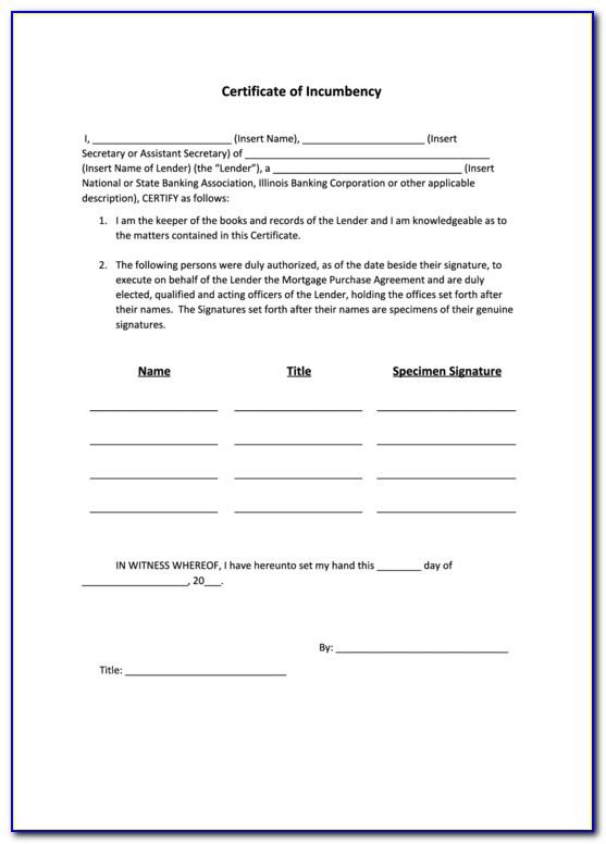 Certificate Of Incumbency Sample Hsbc