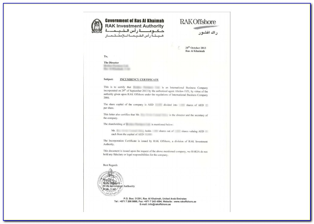Certificate Of Incumbency Sample Malaysia