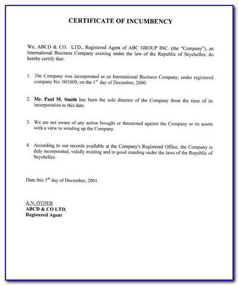 Certificate Of Incumbency Sample Pdf