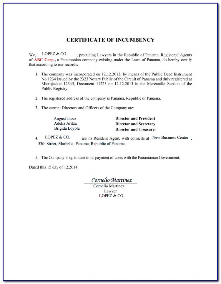 Certificate Of Incumbency Sample Singapore