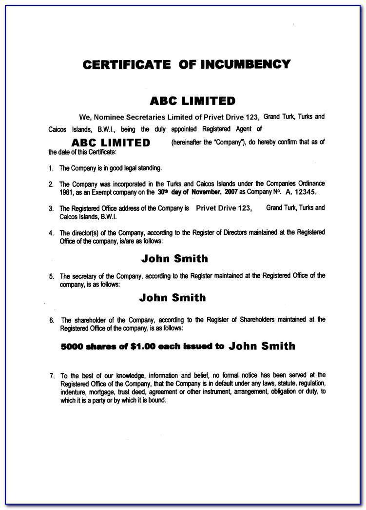 Certificate Of Incumbency Sample Uk