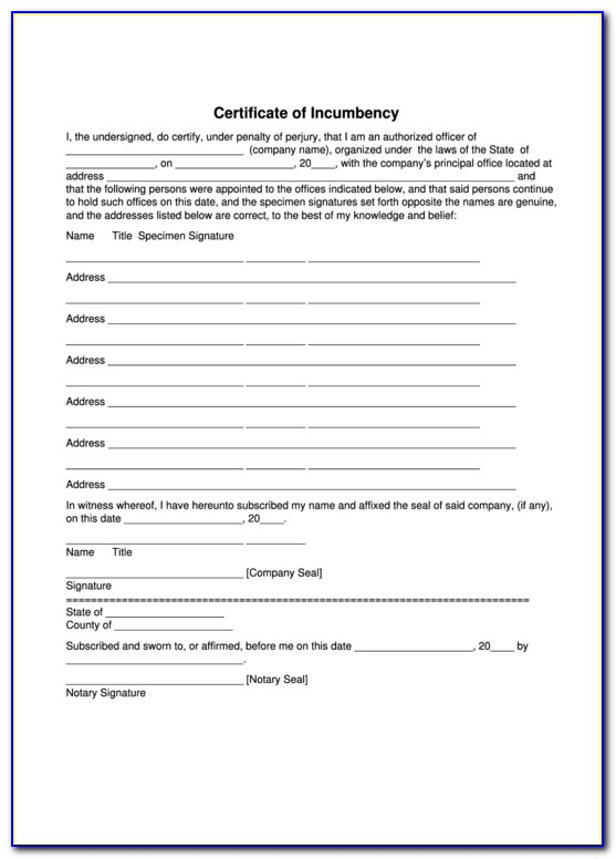 Certificate Of Incumbency Sample Word